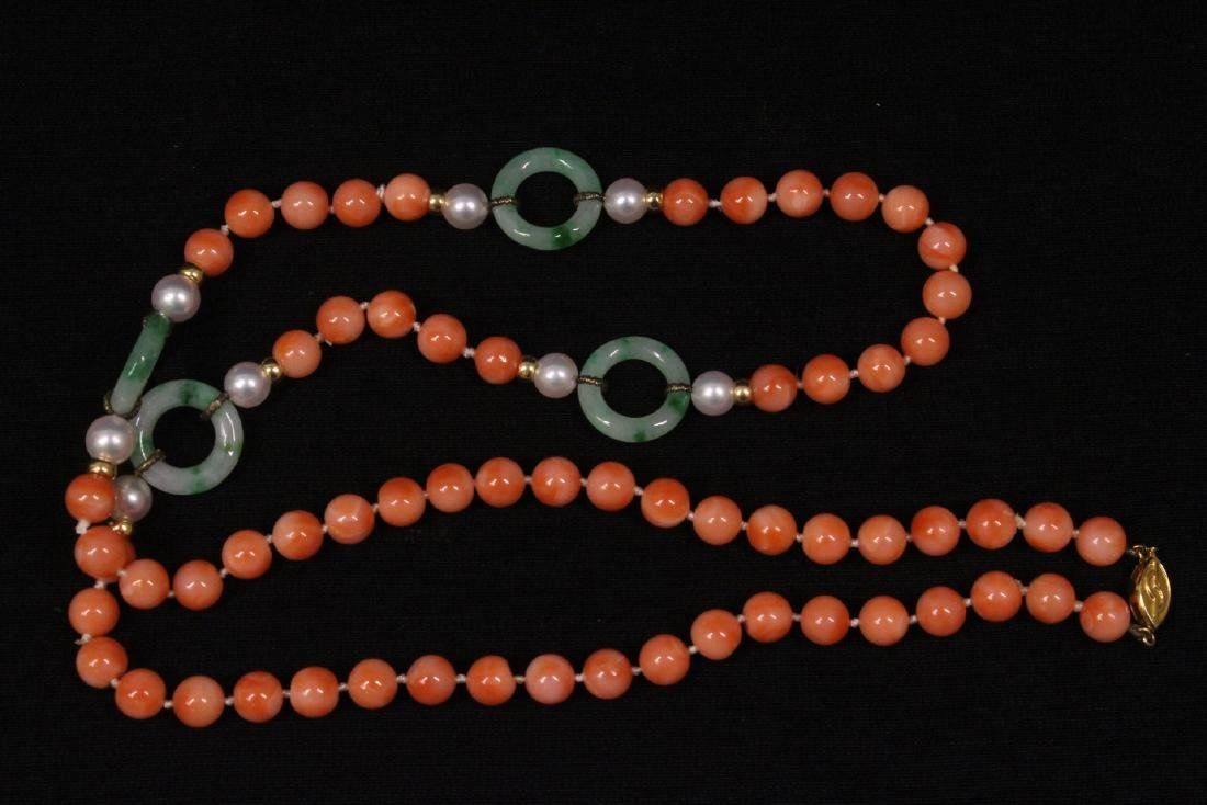 coral necklace w/ jadeite link, pearl & gold beads - 5