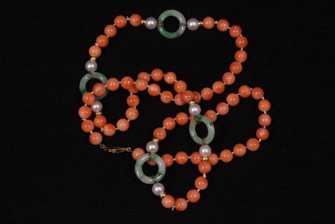 coral necklace w/ jadeite link, pearl & gold beads - 6