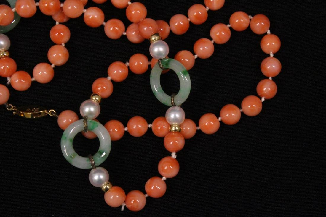 coral necklace w/ jadeite link, pearl & gold beads - 7
