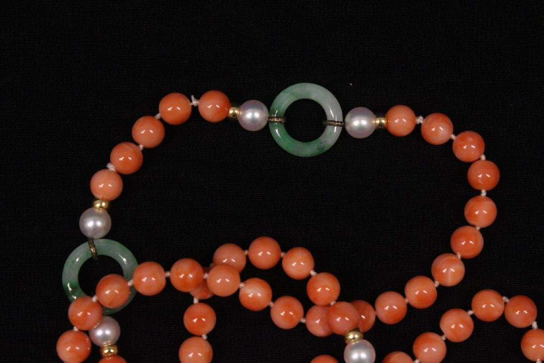 coral necklace w/ jadeite link, pearl & gold beads - 8