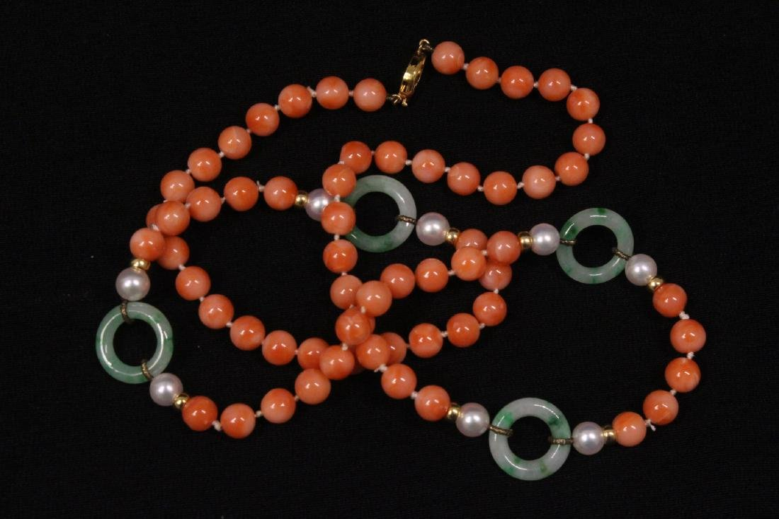 coral necklace w/ jadeite link, pearl & gold beads - 9