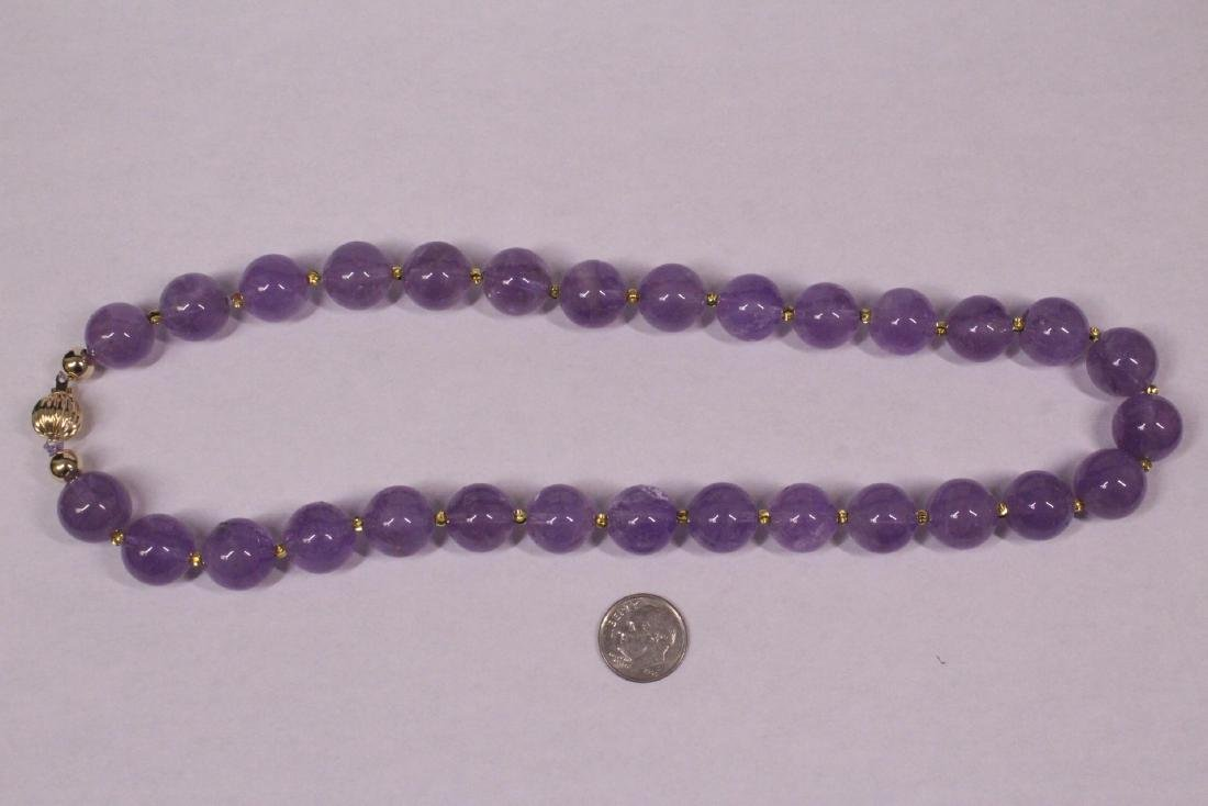 amethyst bead necklace with 14K Y/G clasp