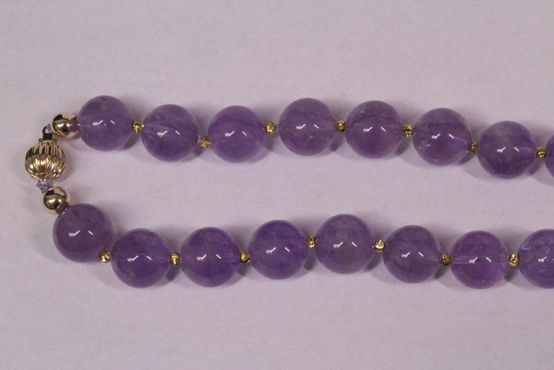 amethyst bead necklace with 14K Y/G clasp - 2