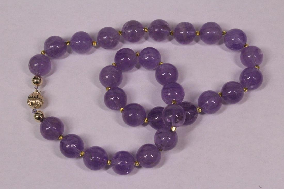 amethyst bead necklace with 14K Y/G clasp - 4