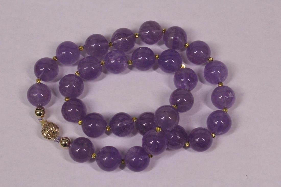 amethyst bead necklace with 14K Y/G clasp - 5