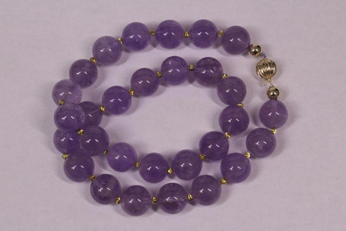 amethyst bead necklace with 14K Y/G clasp - 6