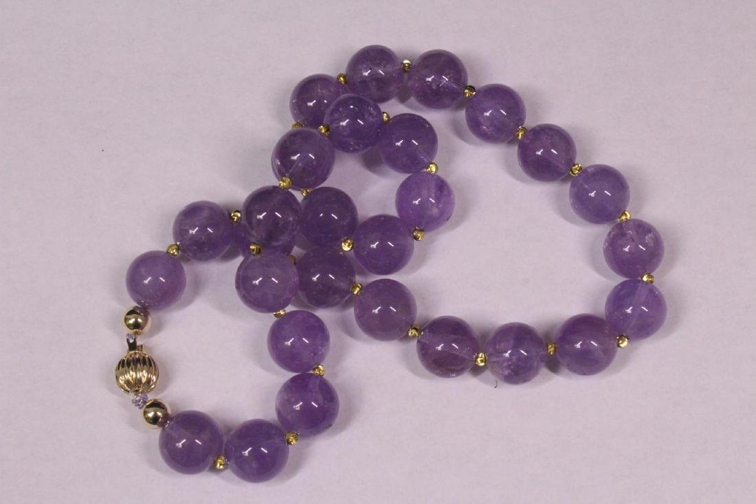 amethyst bead necklace with 14K Y/G clasp - 7