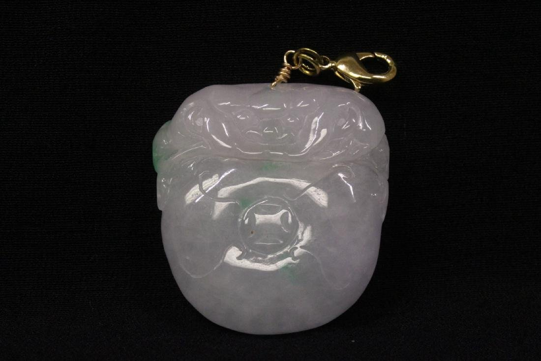 Chinese apple green jadeite carved pendant