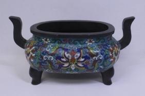 Chinese heavy bronze censer enhanced w/ cloisonne