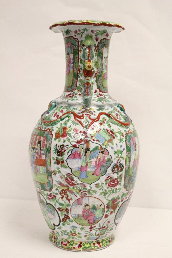 Chinese antique rose canton vase - 2