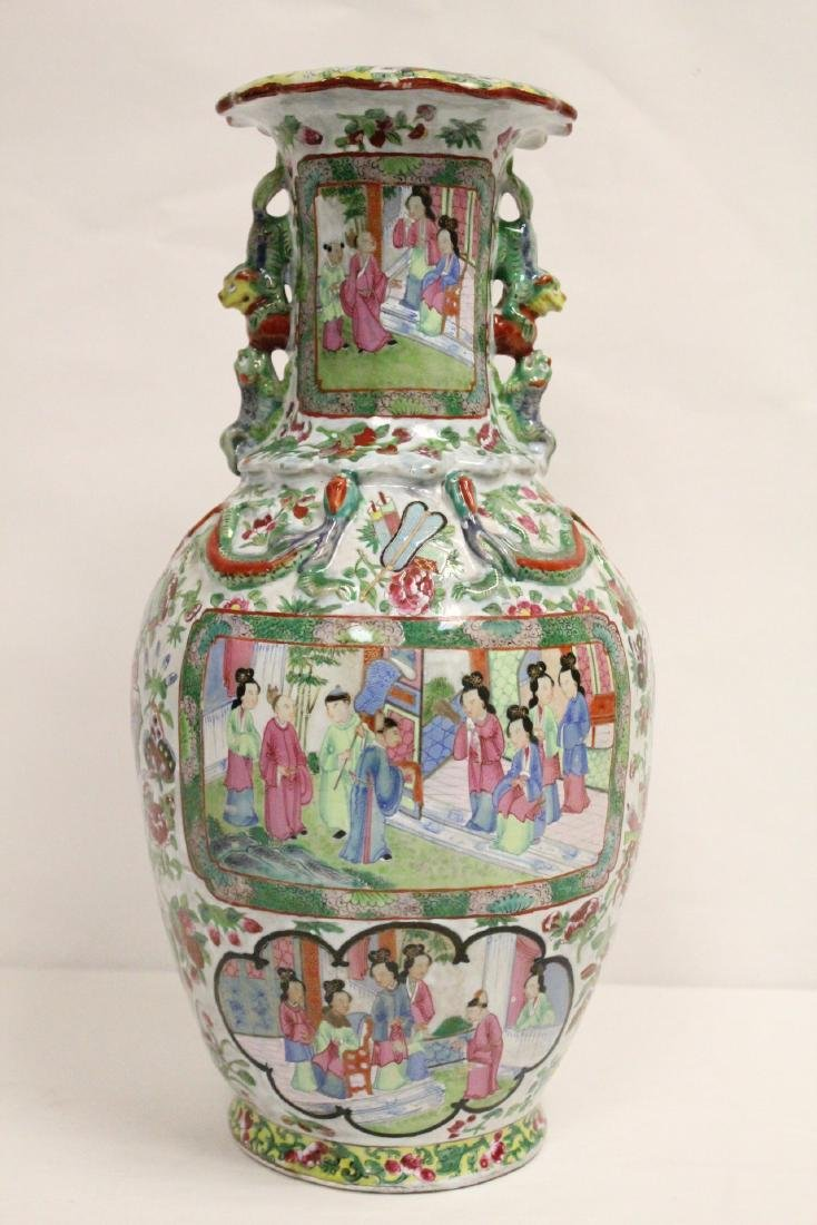 Chinese antique rose canton vase - 3