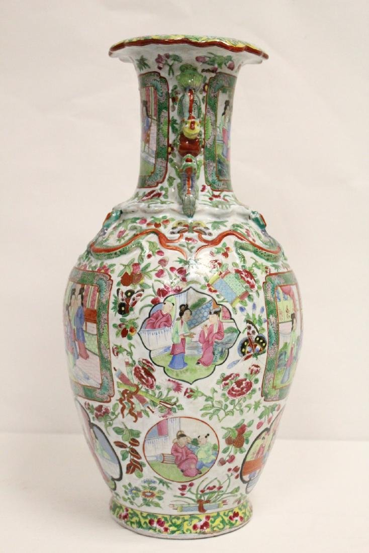 Chinese antique rose canton vase - 4