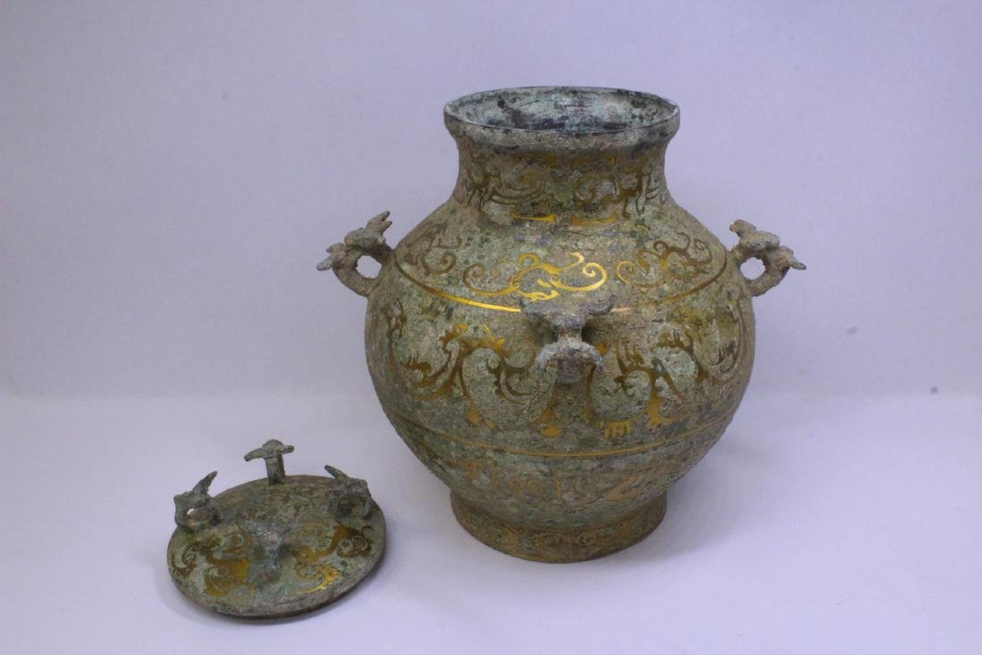 Chinese bronze covered hu with inlaid - 2