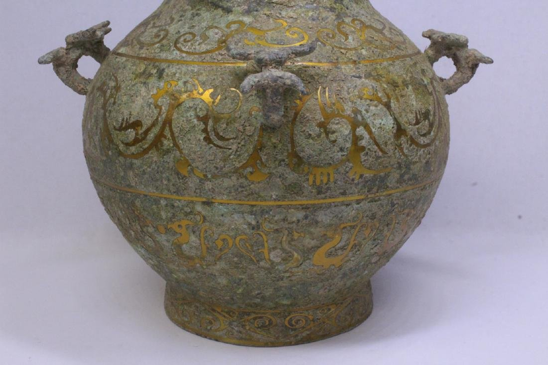 Chinese bronze covered hu with inlaid - 4