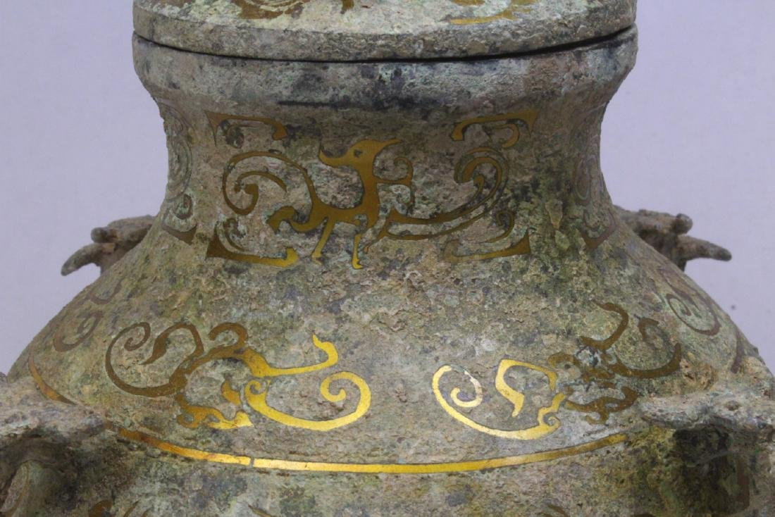 Chinese bronze covered hu with inlaid - 7