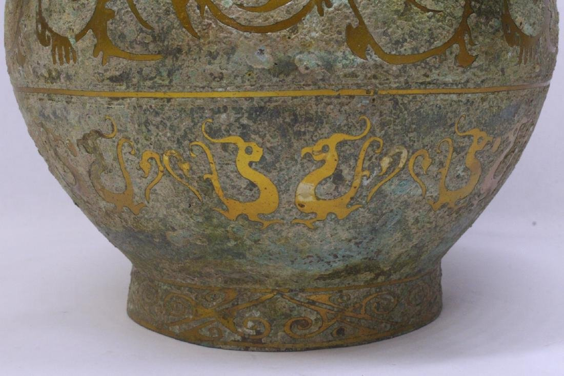 Chinese bronze covered hu with inlaid - 8