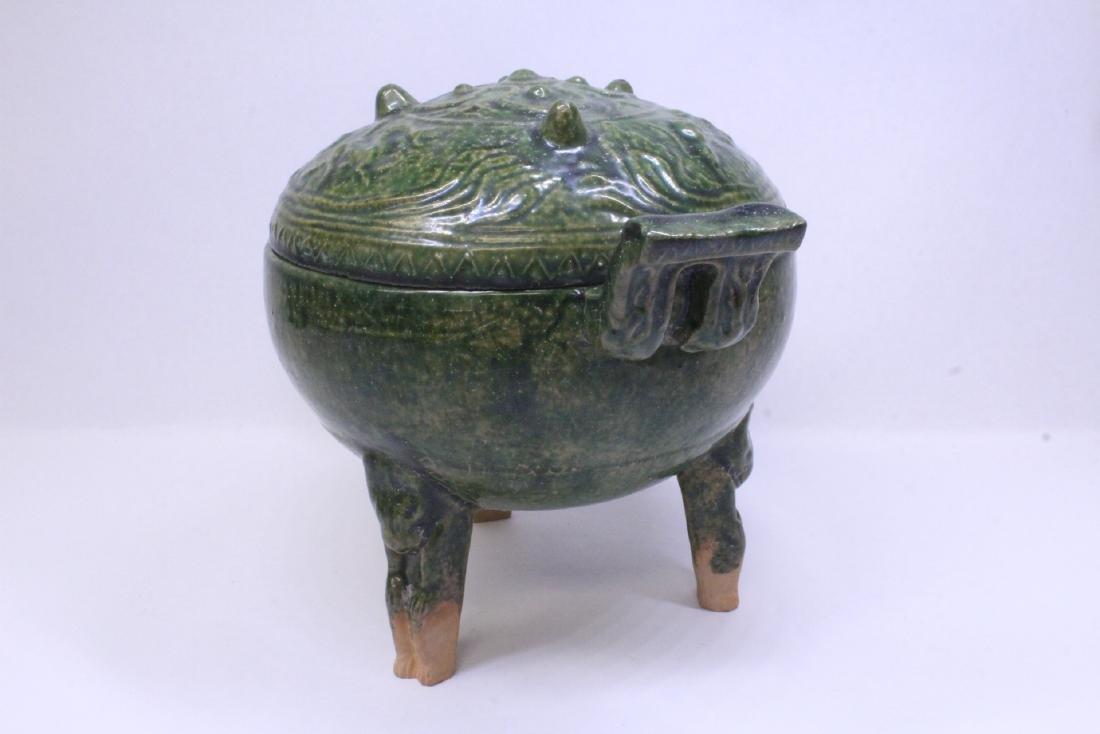 Han style green glazed tripod censer - 4