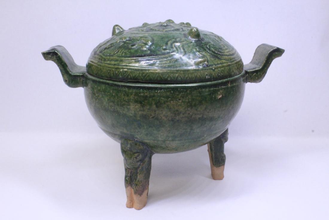 Han style green glazed tripod censer - 5