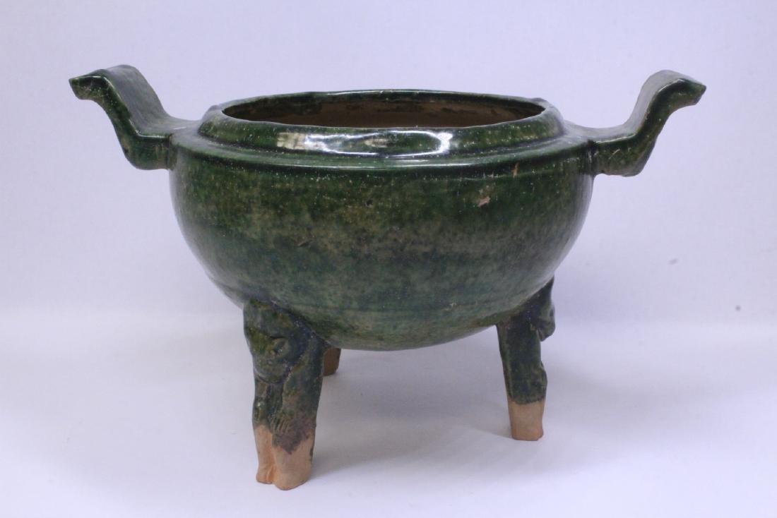 Han style green glazed tripod censer - 6