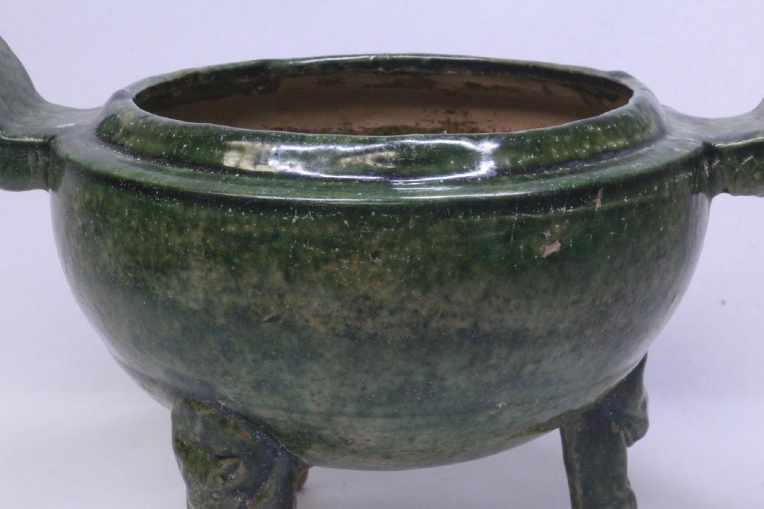 Han style green glazed tripod censer - 7