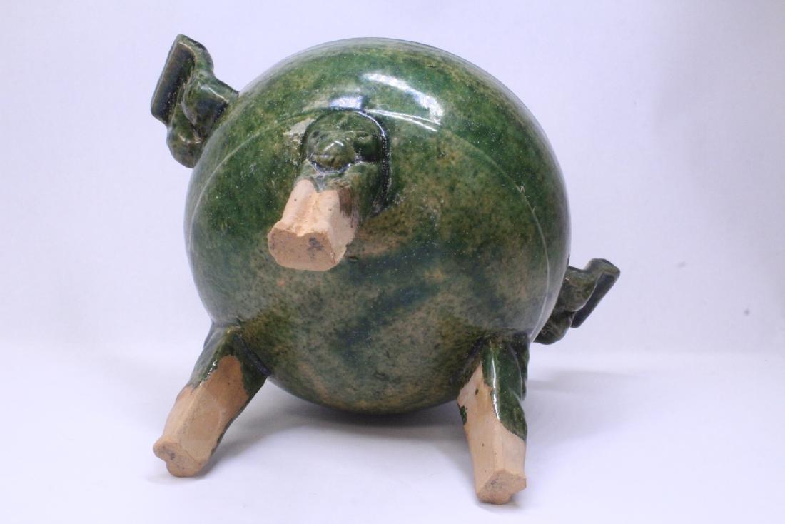 Han style green glazed tripod censer - 8