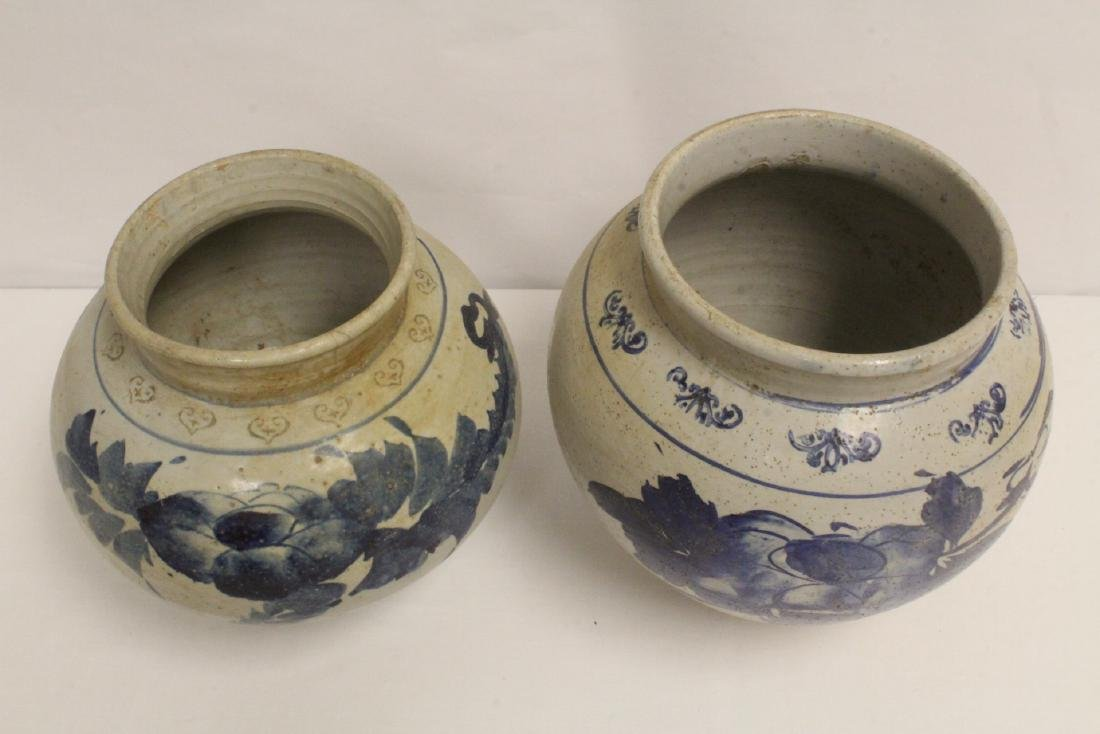 2 antique Korean blue and white jars - 2