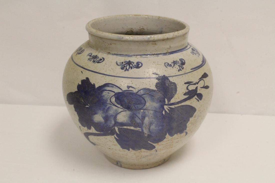 2 antique Korean blue and white jars - 3