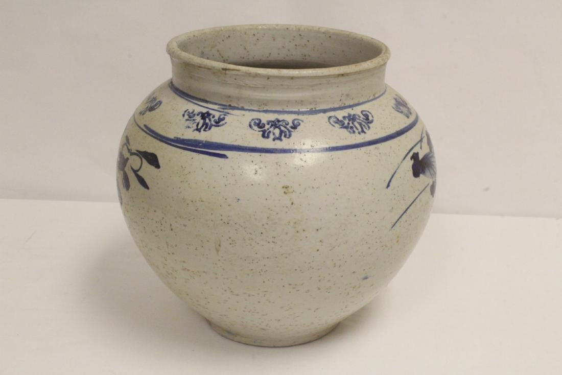2 antique Korean blue and white jars - 5
