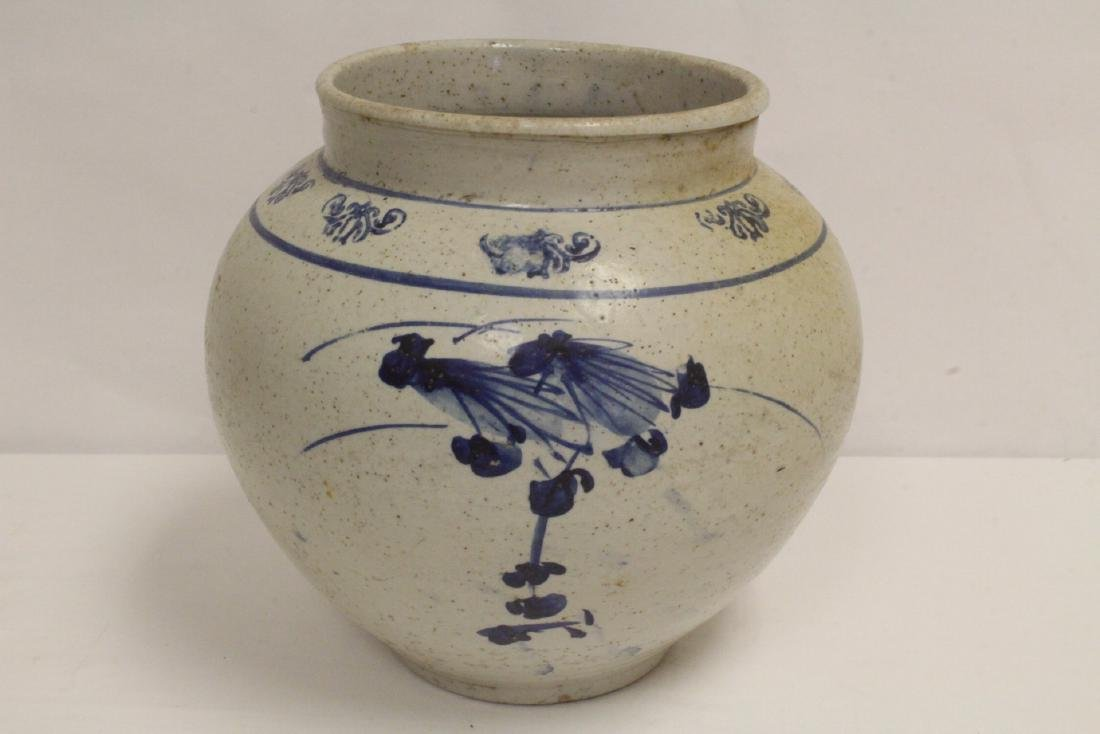 2 antique Korean blue and white jars - 6