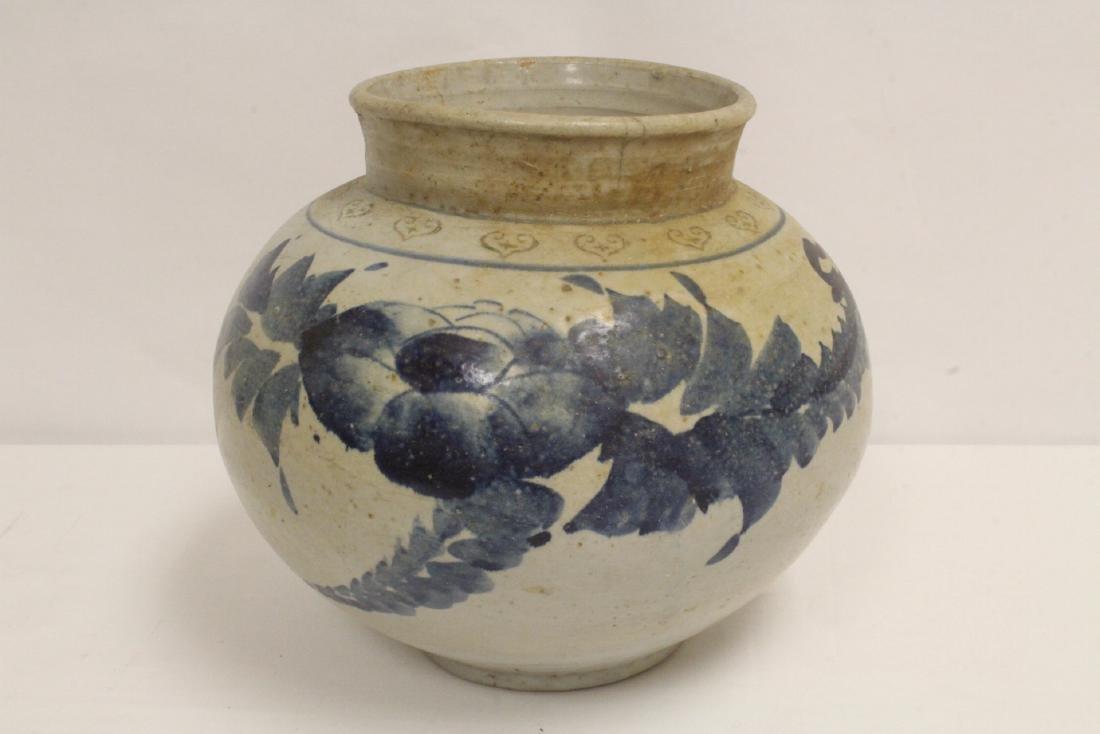 2 antique Korean blue and white jars - 7