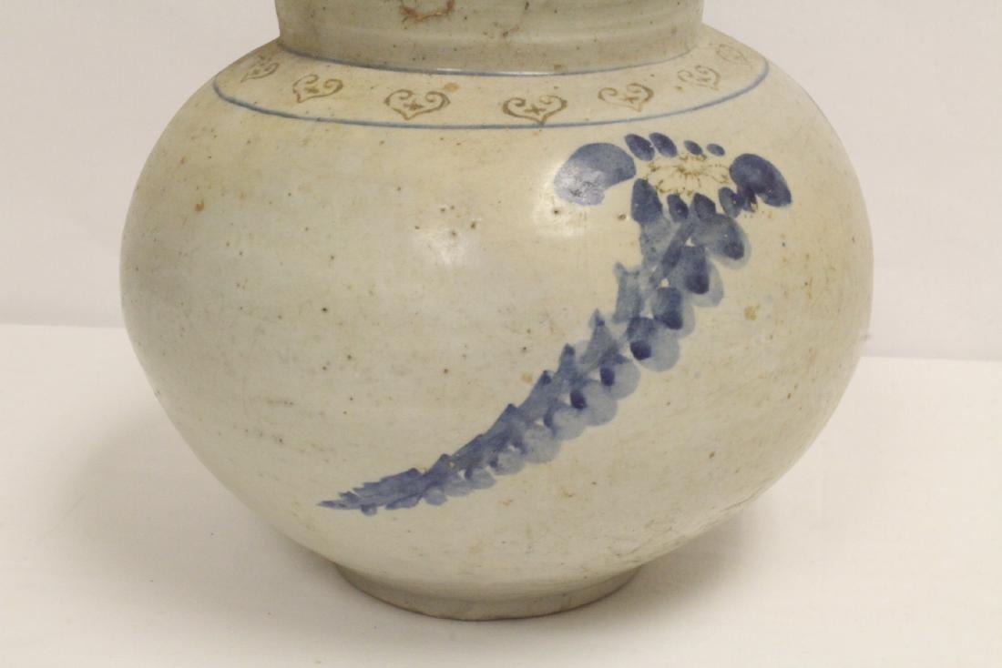 2 antique Korean blue and white jars - 9