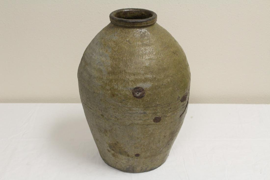 Antique Chinese glazed pottery storage jar - 2