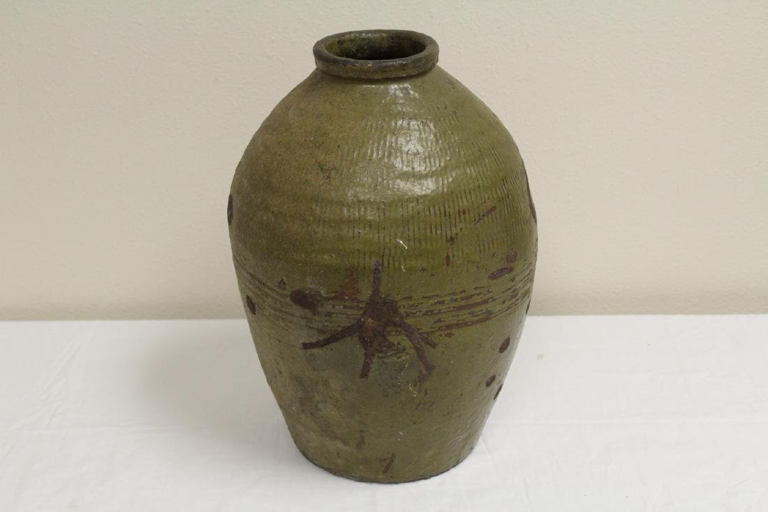 Antique Chinese glazed pottery storage jar - 3