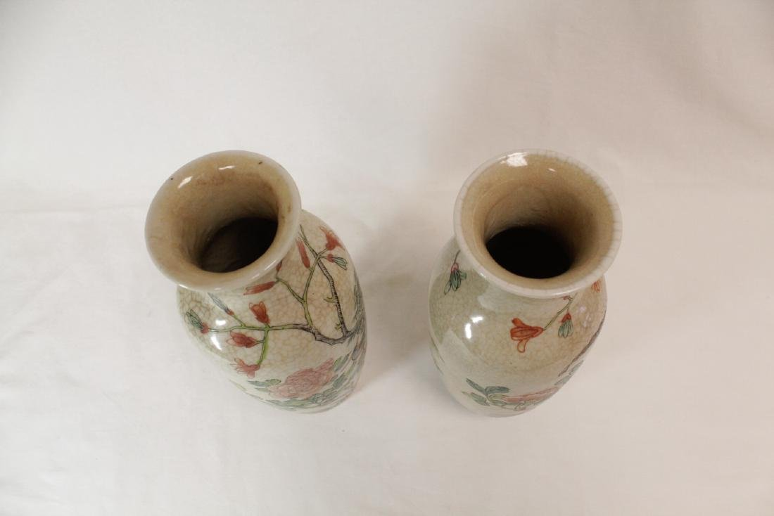 Pair Chinese 19th/20th c. famille rose vases - 5
