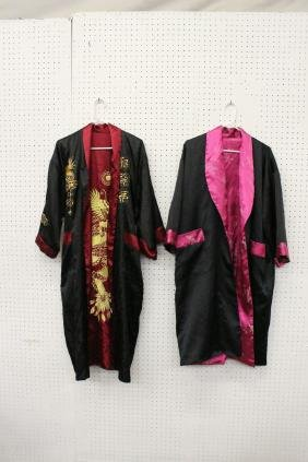 2 Chinese embroidery silk robes