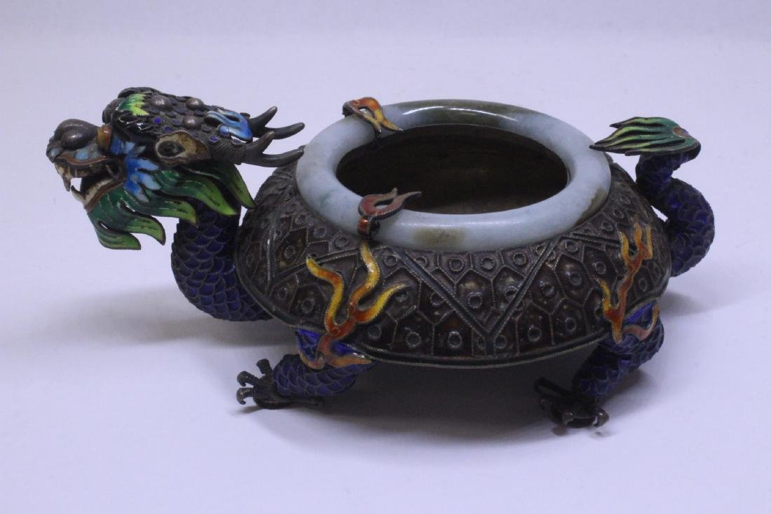 Chinese enamel silver censer with jade rim