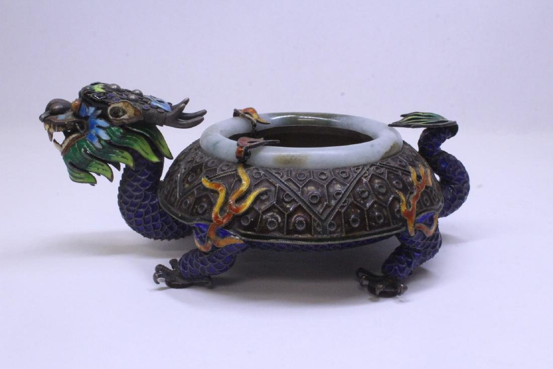 Chinese enamel silver censer with jade rim - 2