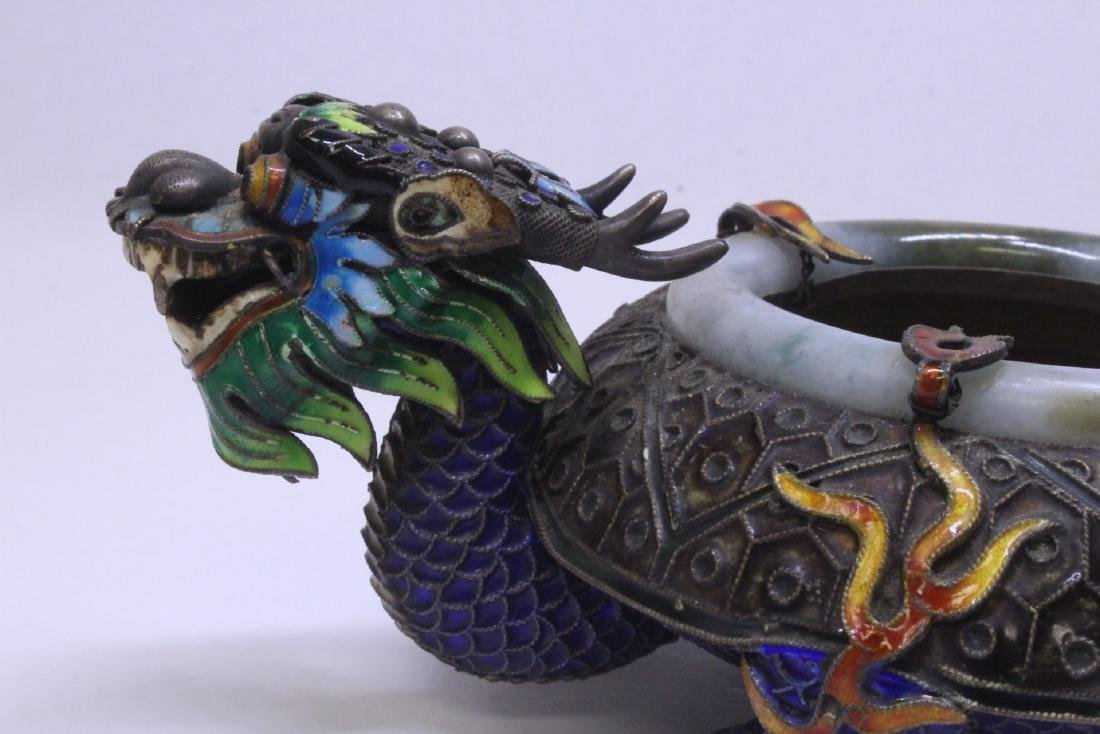 Chinese enamel silver censer with jade rim - 3
