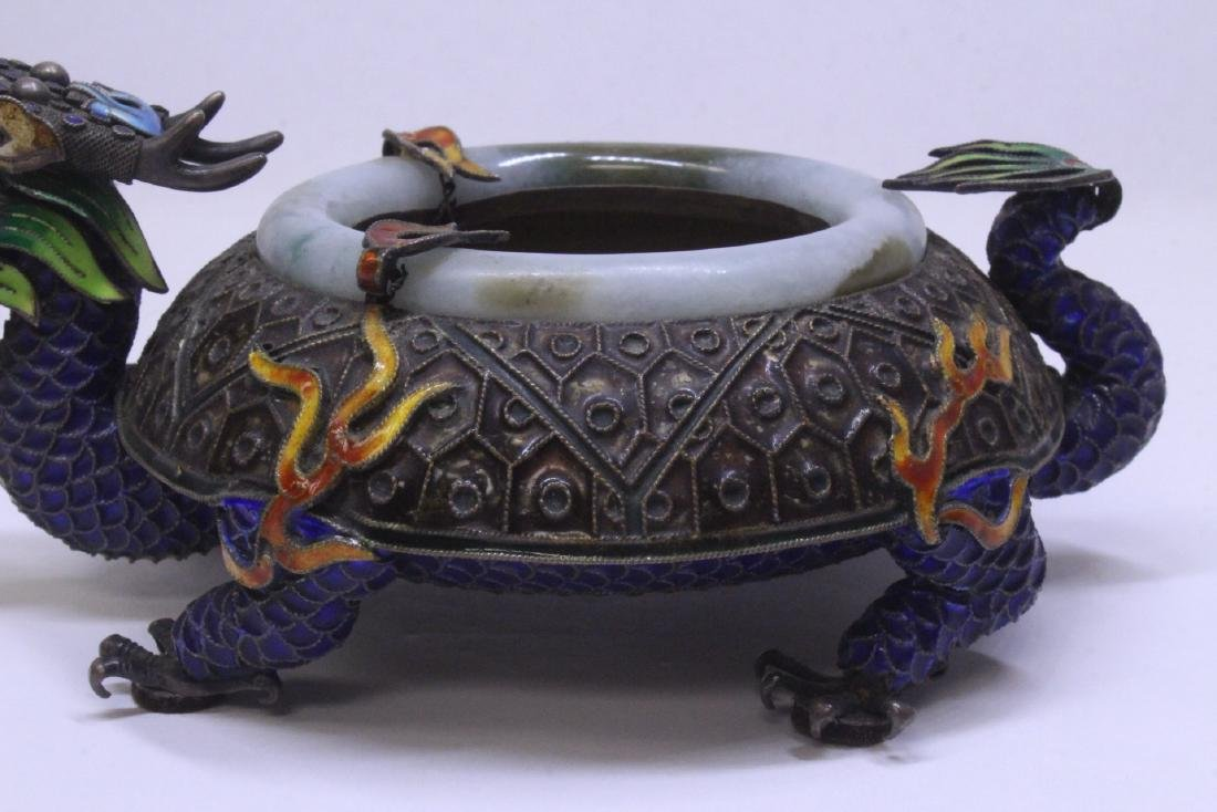Chinese enamel silver censer with jade rim - 4
