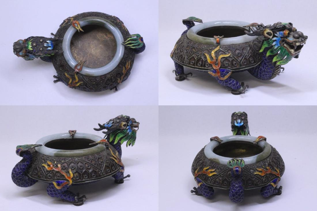 Chinese enamel silver censer with jade rim - 5