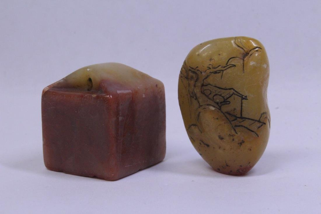 4 Chinese antique shoushan stone seals - 3