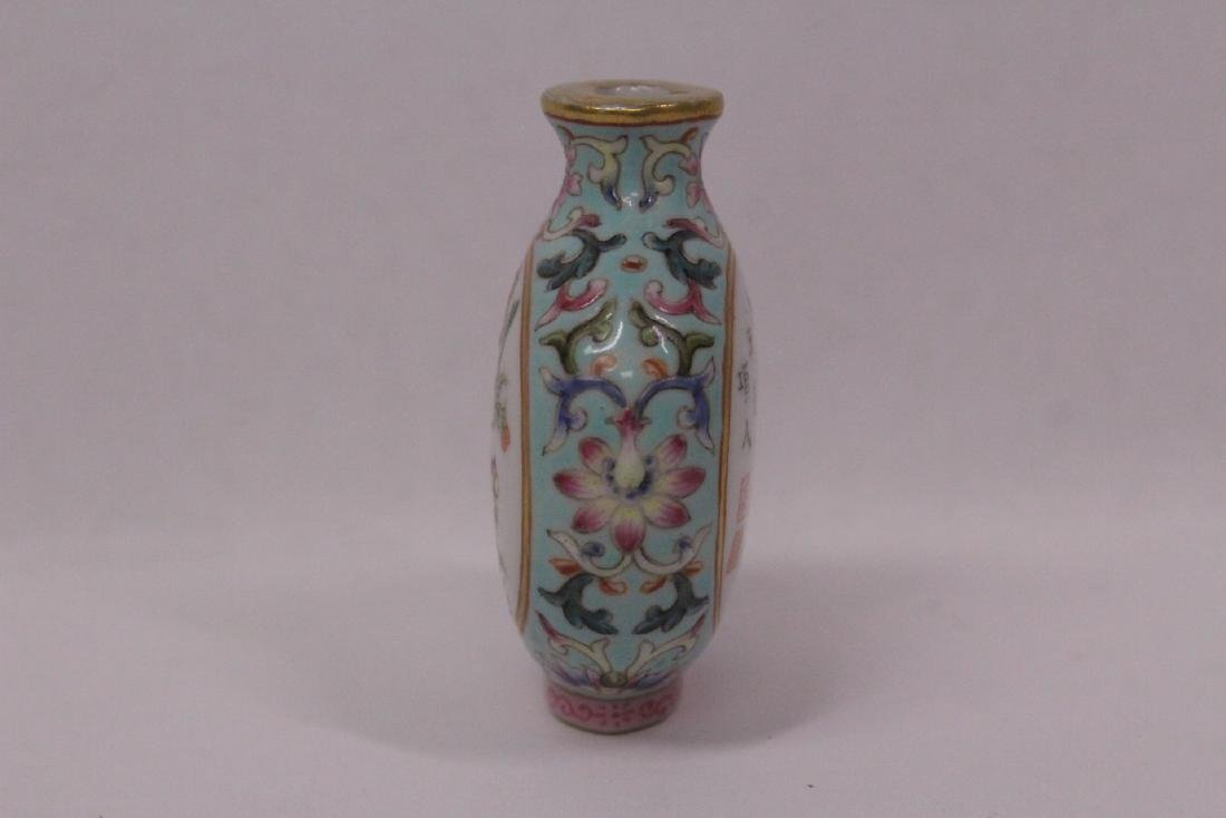 Chinese famille rose porcelain snuff bottle - 3