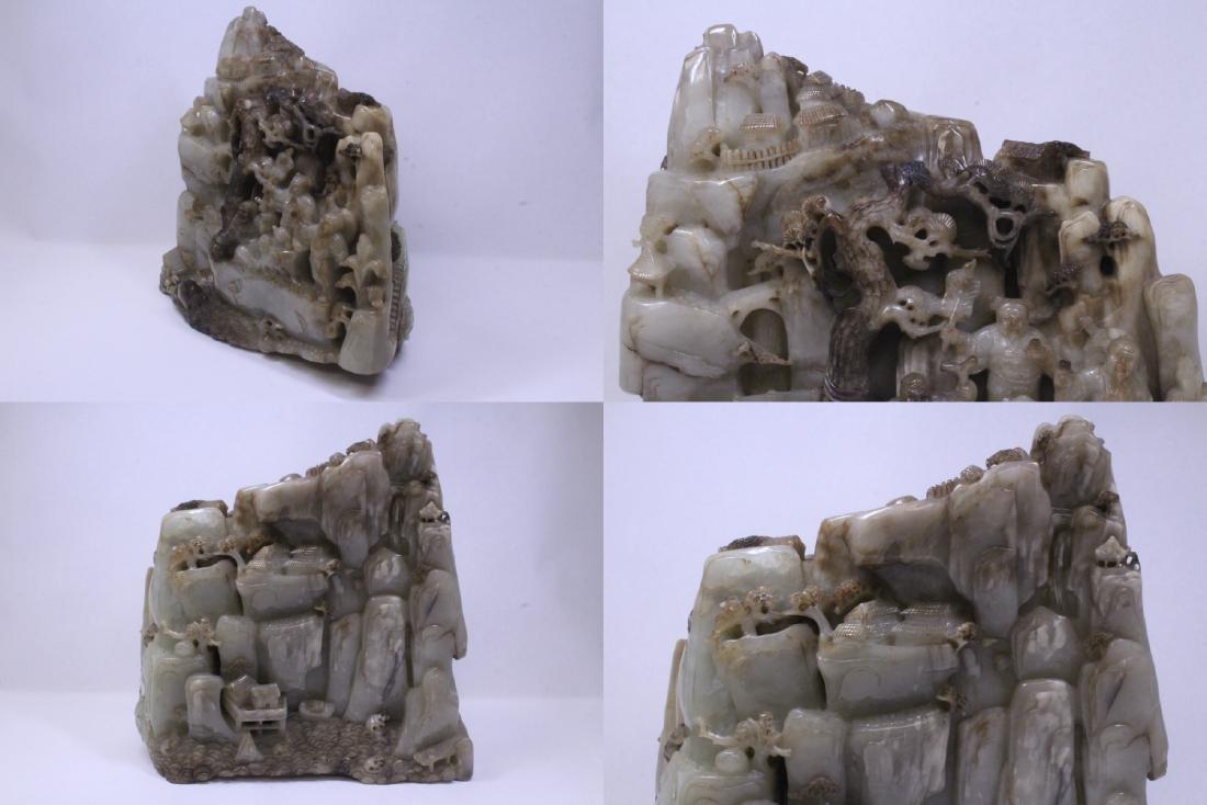 Chinese large jade carved boulder - 4