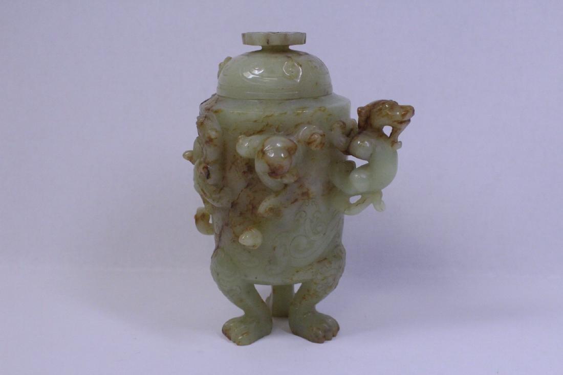 Chinese celadon jade carved tripod censer - 2