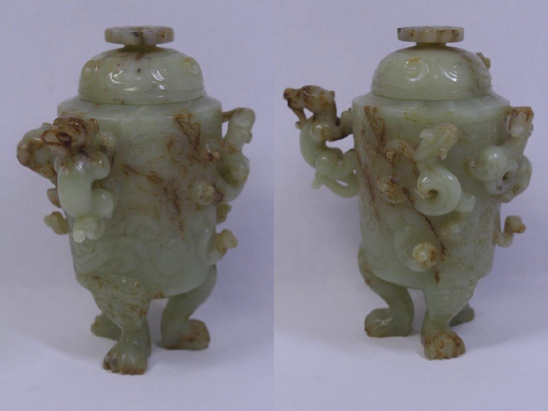 Chinese celadon jade carved tripod censer - 4