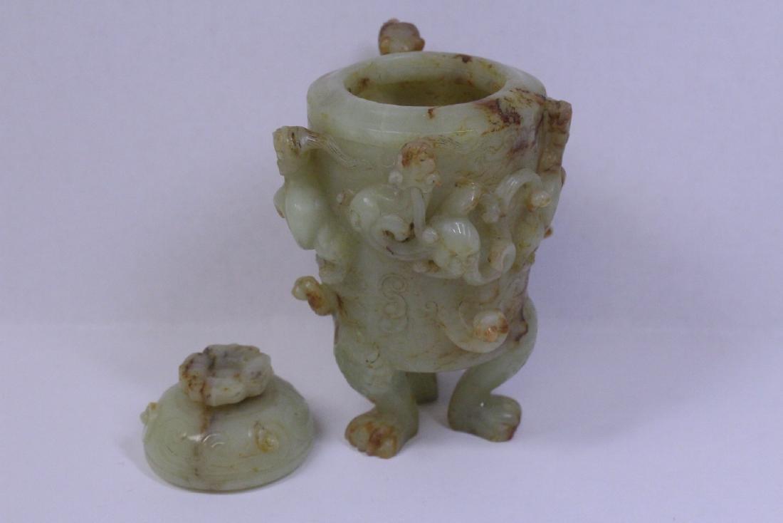 Chinese celadon jade carved tripod censer - 5