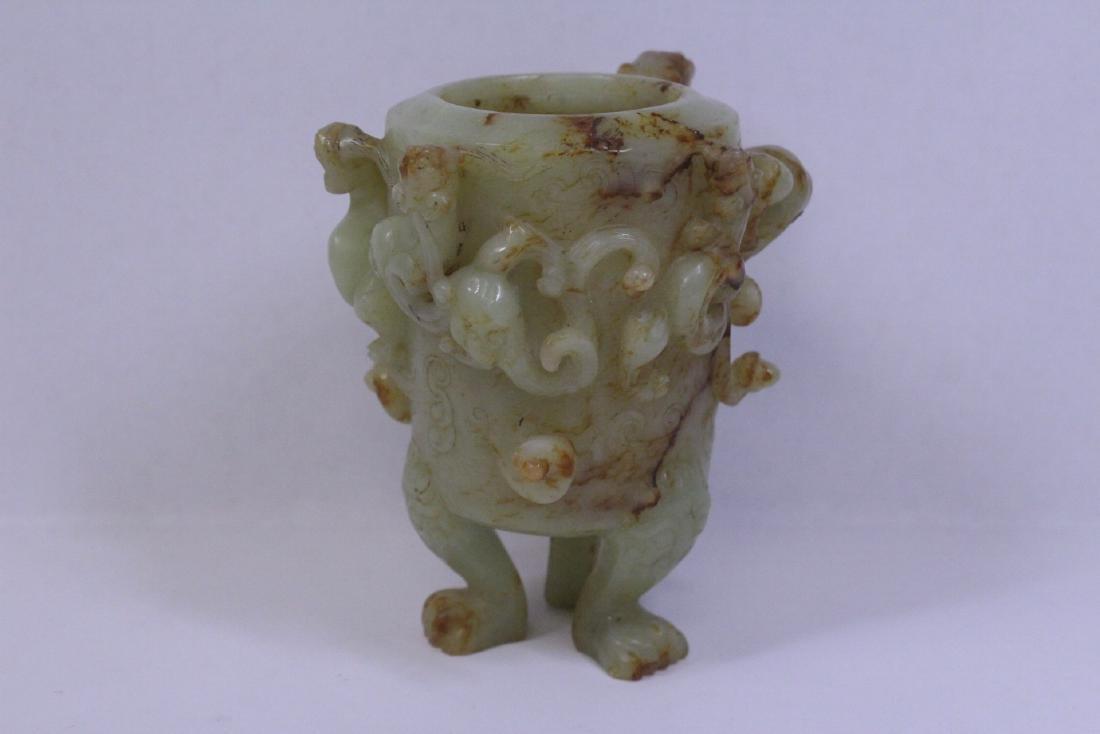 Chinese celadon jade carved tripod censer - 6
