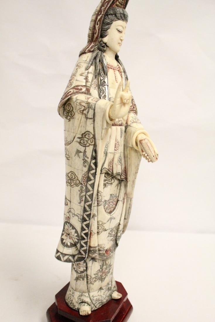 A large Chinese bone carved Guanyin - 10