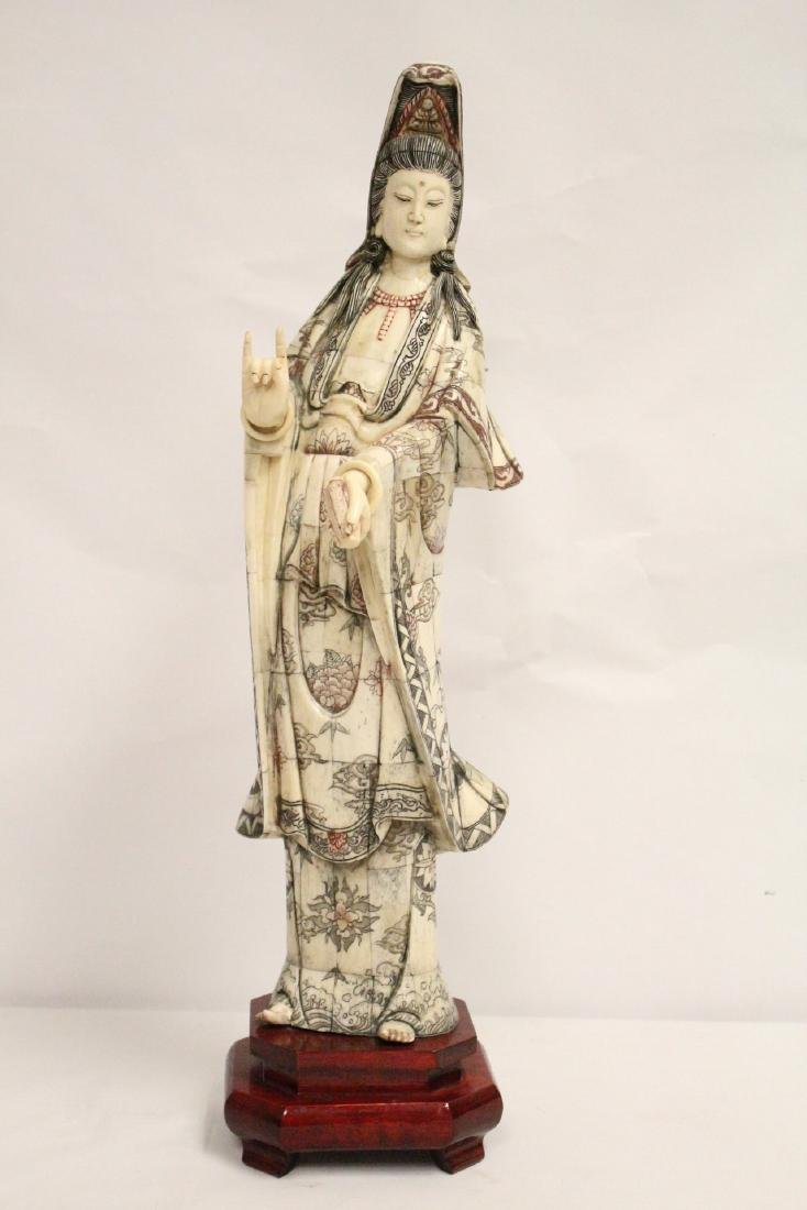 A large Chinese bone carved Guanyin