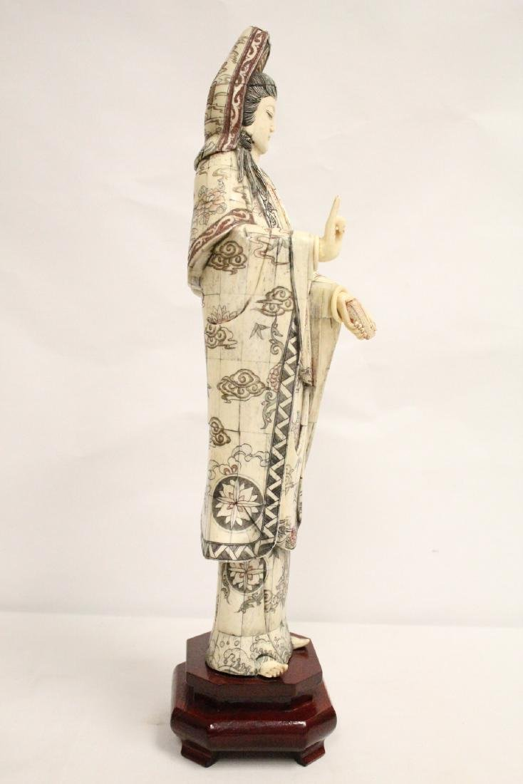 A large Chinese bone carved Guanyin - 4
